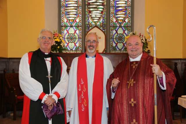 Pictured following the Institution of the new Rector of Fanlobbus Union were (l-r) the Right Reverend Dr John Neill (Preacher), the Reverend Cliff Jeffers (new Rector of the parish), and the Right Reverend Dr Paul Colton, Bishop of Cork, Cloyne and Ross.