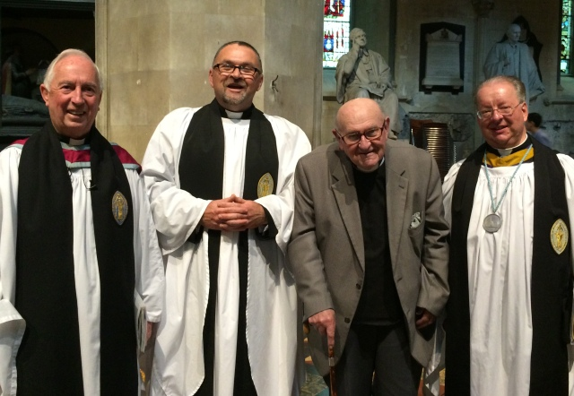 Canon Paul Willoughby 9second form left) with from left, the Very Reverend Victor Stacey (Dean of St Patrick's), the Very Reverend Victor Griffin (former Dean of St Patrick's) and Canon Bob Reed (Precentor of St Patrick's)