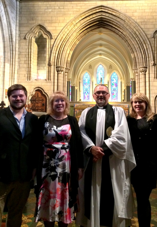 l-r Neil Willoughby, Mrs Amanda Willoughby, Canon Paul Willoughby, and Caroline Willoughby.