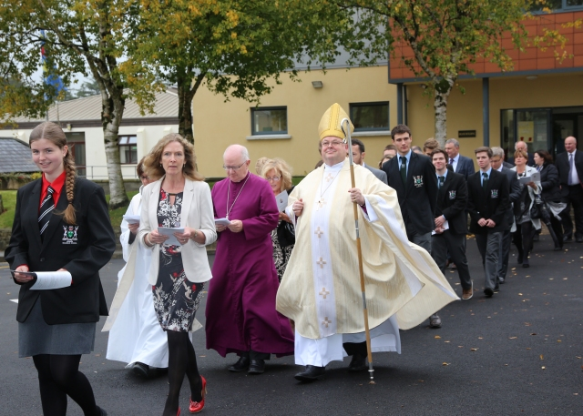 The procession from teh Deane Building at Bandon Grammar School to the new school chapel in Richmond House. (Photo:  Donal Warren)