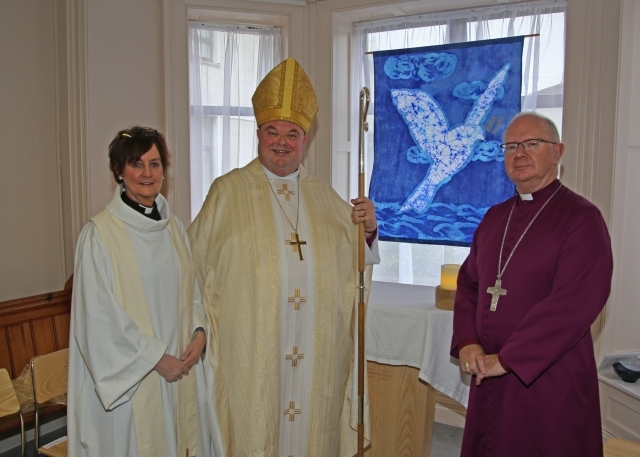 the Reverend Anne Skuse, the Bishop of Cork and the Archbishop of Armagh in the new Chapel at Bandon Grammar School. (Photo:  Donal Warren)