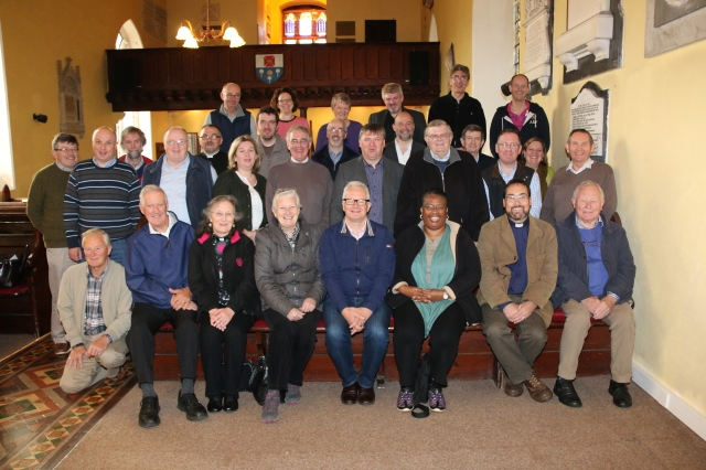 Clergy from Cork, Cloyne and Ross with the Reverend Dr Hugh Rayment-Pickard (front row fourth from right) at the Church of St Brendan the Navigator, Bantry, following their annual clergy conference.  (Photo:  Paul Colton).