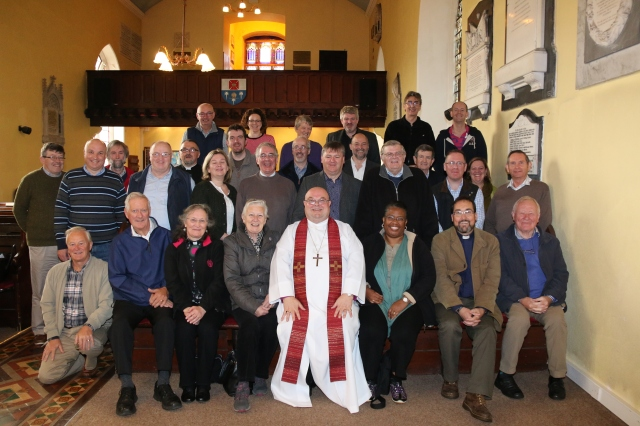 Clergy from Cork, Cloyne and Ross with Bishop Paul Colton at the Church of St Brendan the Navigator, Bantry, following their annual clergy conference.  (Photo:  Hugh Rayment-Pickard).