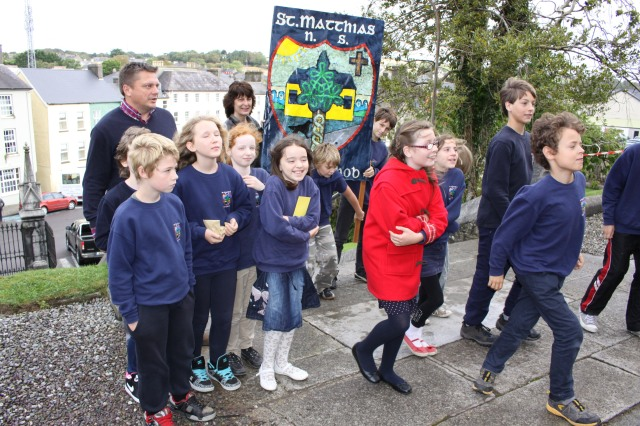 The group from St Matthias' National School, Ballydehob, on the way into the Diocesan Service for Primary Schools.