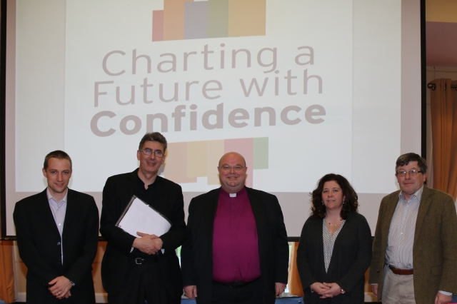 The newly elected steering committee of Charting A Future with Confidence l-r Melvin Beamish, Dean Nigel Dunne, the Bishop, Sandra Giles and Dean Christopher Peters, photographed at the conclusion of the inaugural meeting on Saturday, 22nd November.