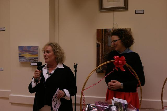 Artist Glynnis Trinder (left), originally from Douglas Parish, opens the Art and Photography Exhibition with (right) the Reverend Sarah Marry, Curate of the Parish.