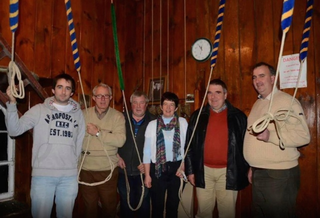 Five minutes to midnight - all ready to ring in the New Year in St. Mary's Church, Doneraile, County Cork are l-r Paul Deane, Eddie Gabriel, Mark Buckley, Linda Deane, David Deane and Ian Wharton (Photo:  Tom Corbett)
