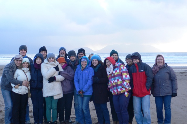 Time out from the annual Cork, Cloyne and Ross Youth Leaders' Weekend - a walk on blustery Inch Strand, County Kerry.