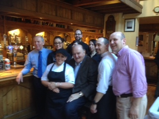 George Hook shares a joke with staff at the Bull McCabe's Bar and Restaurant after the Douglas Union with Frankfield Men's Breakfast at the start of Lent.