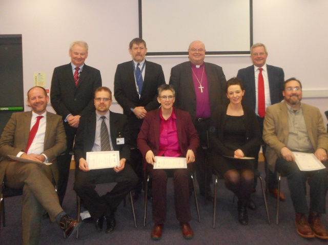 CPE Graduation at St Luke's Home Education Centre, Cork.  Front row - those receiving CPE awards (l-r):  Daniel Nuzum,  Csaba Kalman, Anita Treacy, Aoife Ralph and Stephen McCann.  Bank row: David O'Brien (CEO, St Luke's Home), Bruce Pierce (Director of Education, St Luke's Home Education Centre), Dr Paul Colton (Chairman, Board of Directors of St Luke's), and Tony McNamara (CEO of Cork University Hospital).
