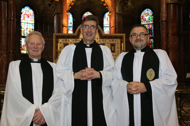 The Dean of Cork, the Very Reverend Nigel Dunne (centre) with Canon Paul Willoughby (right) and Canon Trevor Lester (left) following the Service of Installation on Sunday, 8th March.