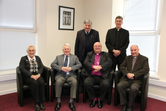 Wilfred Baker (front, second from left) with the Governors of the City of Cork Church School Board:  Front (l-r) Mrs Violet Warner, Wilfred Baker, Bishop Paul Colton, Archdeacon Adrian Wilkison and in the back row (l-r) Keith Roberts and Dean Nigel Dunne.