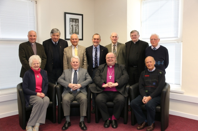 The trustees of the Victoria Trust, Cork.  Front row (l-r) Mrs Eveline St Leger, Wilfred Baker, Bishop Paul Colton (Chairman), Michael Hall (Secretary/Treasurer); Back row (l-r) Archdeacon Adrian Wilkinson, Keith Roberts, Charles Olden, Robin Newenham, Jonathan Fleury, the Reverend Edwin Hunter, and Dr Edgar Ritchie.