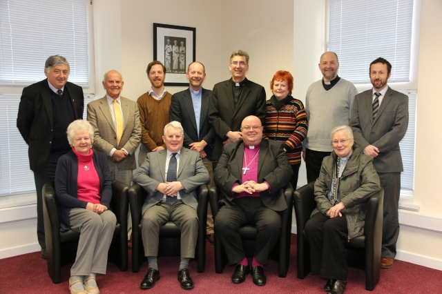 St Stephen's Protestant Orphan Society.  Front Row (l-r) Mrs Eveline St Leger, WIlfred Baker, Bishop Paul Colton, (Chairman), Canon Eithne Lynch; Back Row (l-r) Keith Roberts, Charles Olden, Drew Ruttle, Canon Daniel Nuzum, Dean Nigel Dunne, Ms Kate Nielson, Dean Alan Marley, and Dr Edward Gash.