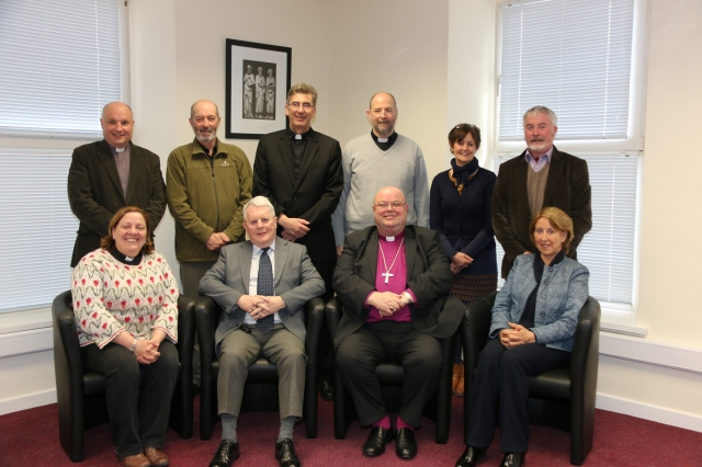 Cork Cloyne and Ross Diocesan Board of Education.  Front (l-r) the Reverend Elaine Murray, Wilfred Baker, Bishop Paul Colton (Chairman),  Ms Máire Roycroft; Back (l-r)  Archdeacon Adrian WIlkinson, Derek Johnston, Dean Nigel Dunne, Dean Alan Marley, the Reverend Anne Skuse, and Andrew Coleman.
