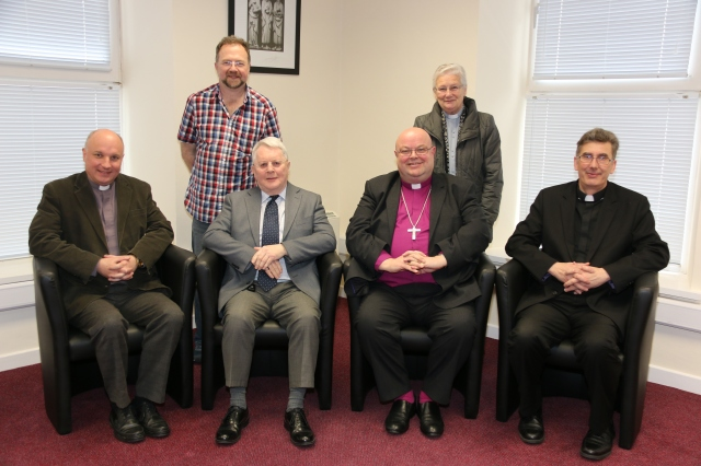 The Trustees of the Lapp's Charity.  Front (l-r) Archdeacon Adrian Wilkinson, Wilfred Baker, Bishop Paul Colton (Chairman)O, Dean Nigel Dunne; Back row (l-r) Marcus Calvert and Canon Eithne Lynch.