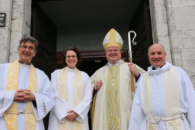 Following the Licensing and Commissioning of the Reverend Sarah Marry as Priest-in-Charge of Saint Anne's Parish, Shandon, Cork and as Chaplain  to St Luke's Home, Cork were (l-r) the Dean of Cork, the Very Reverend Nigel Dunne, the Reverend Sarah Marry, the Bishop, and the Venerable Adrian Wilkinson, Archdeacon of Cork.