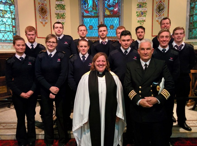 The Reverend Elaine Murray (centre), Rector of Carrigaline Union and Church of Ireland Chaplain to the National Maritime College of Ireland, with Officers and Cadets who attended the RMS Lusitania centenary commemoration  in St John's Church, Monkstown, County Cork.