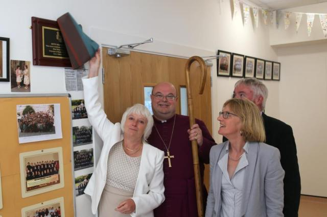At the unveiling of the plaque in memory of Miss Betty Beamish were (l-r) Mrs Dorothy Verplancke, the Bishop, Mrs Harriet Pritchard, and Mr Andrew Coleman, Chairperson of the Board of Management.  Photo:  Trevor Collins