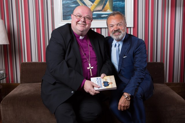 "In 'The Green Room' before 'An Evening with Graham Norton"" at the West Cork Literary Festival are the interviewer, Bishop Paul Colton, and Graham Norton on whom the tables were turned.  Photo:  Darragh Kane"