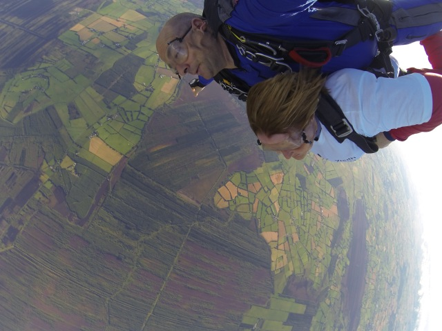 Carole Bradley in her tandem skydive with her instructor.