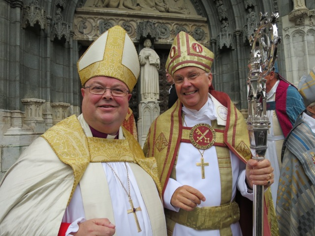 The new Bishop of Strängnas, Dr Johan Dalman, after his consecration as bishop, with the Bishop of Cork, Dr Paul Colton.