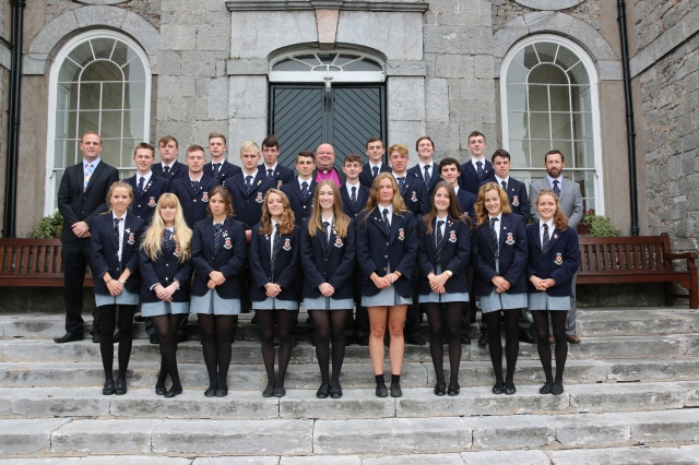 Bishop Paul Colton (centre of back row) with the new prefects at Midleton College, and (on the right), the School Principal, Dr Edward Gash, and (on the left) the new Deputy Principal, Mr Kevin Stanley.