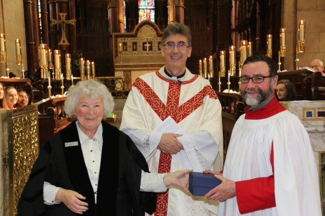 At the Cathedral presentation to Malcolm Wisener (right) were the Dean of Cork, the Very Reverend Nigel Dunne, and Mary Leland (Cathedral Warden). (Photo: Paul Colton)