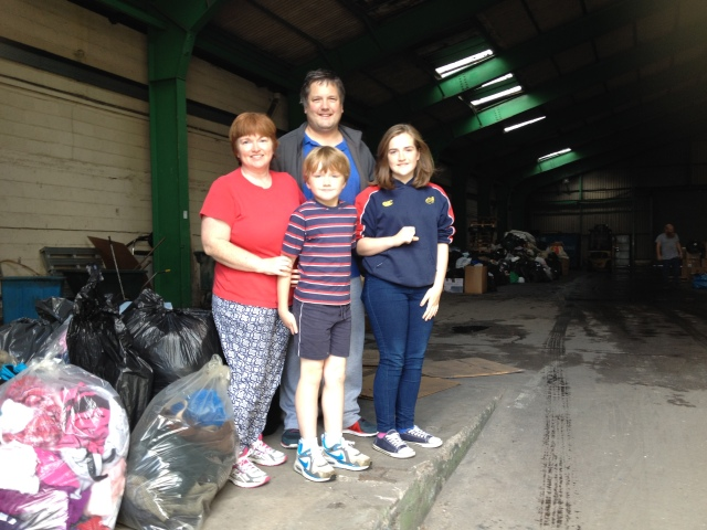 The Woodworth family gave up their Saturday morning to sort donations and supplies, and to deliver them to the Cork Depot for the Cork/Calais Solidarity Group.
