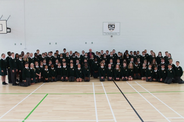 Bishop Paul Colton, past pupil of Ashton School, Cork (centre of back row) with the new first year students at the school, and the school Principal, Mr Adrian Landen (right) and the Deputy principal, Ms Anne-Marie Hewison (left).