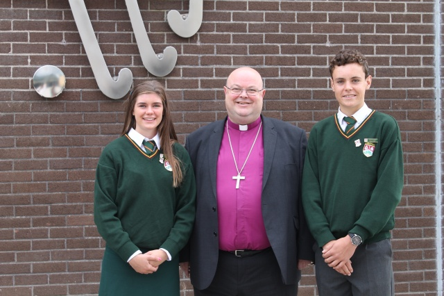 Head Girl, Ally Lynch, and Head Boy, Steven Jermyn meet the Bishop at Ashton School.