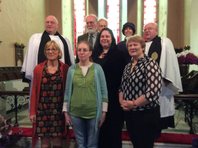 Front Row:         Harriet Pritchard; Síle Healy, Elaine Mulvaney, Mary Murphy Back Row;    the Rev Tony Murphy (Priest-in-Charge), Colin Nicholls, Jim Willis, Roisín Sherrard, and the Ven. Robin Bantry White