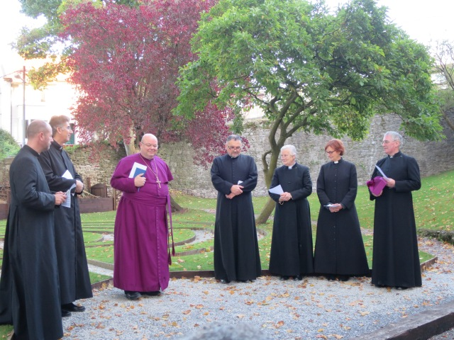 Bishop Coilton and some of the Cathedral clergy assemble at the entrance to the labyrinth for its dedication (l-r)  Canon Daniel Nuzum, the Very Reverend Nigel Dunne (Dean of Cork), the Bishop, Canon Pal Willoughby, Canon Eithne Lynch, the Reverend Anne Skuse (Minor Canon) and the Reverend Ted Ardis (Dean's Vicar). Photo:  Robert Ferris