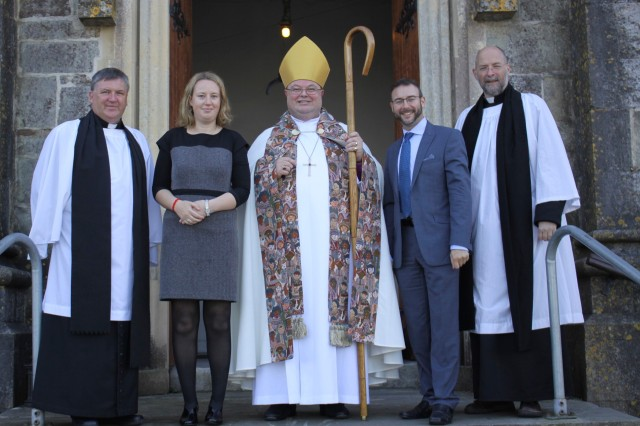At the Annual Diocesan Service for Primary Schools were (l-r) the Reverend Denis MacCarthy, Rector of Bandon, Eimear Ryan (Assistant Secretary, General Synod Board of Education), the Bishop, Dr Ken Fennelly (Church of Ireland Education Officer), and the Very Reverend Alan Marley, Dean of Cloyne.  (Photo:  Sam Wynn)