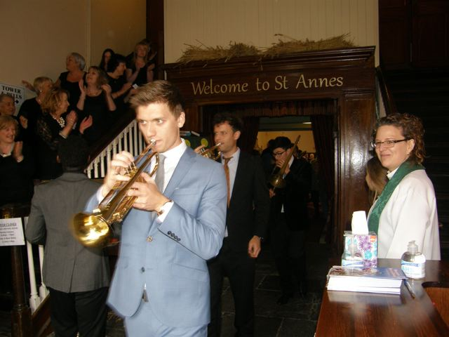 Jazz Festival Service at St Anne's, Shandon, Cork with the Priest-in-Charge, the Reverend Sarah Marry (right)