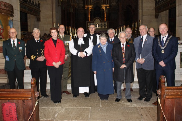 At Choral Evensong, the Act of Remembrance and the dedication in St Fin Barre's Cathedral, Cork on Remembrance Sunday were (l-r): Dr Alicia St Leger (Historian). Lt-Col. Sean Dunne (Defence Forces), the Right Reverend Dr Paul Colton (Bishop of Cork), the Very Reverend Nigel Dunne (Dean of Cork), Mr Gerry White (Cork Branch, the Western Front Association), and Cllr. Mick Nugent, Deputy Lord Mayor of Cork.
