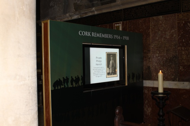 The new visual display in St Fin Barre's Cathedral, Cork: 'Cork Remembers 1914~1918'