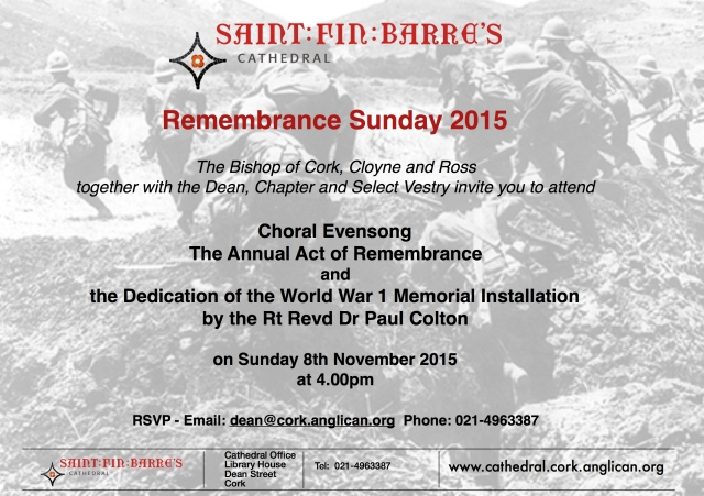 WW1 Installation dedication invite