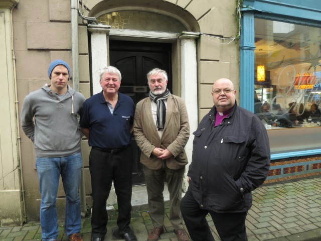 A chance meeting on the streets of Bandon during Bishop Colton's visit this morning with (l-r) Councillor James O'Donovan, local businessman Jim Deane, Andrew Coleman and Bishop Paul Colton. (Photo: Denis MacCarthy)