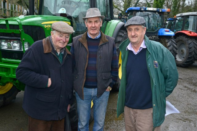 NEWS 24/1/2016 Pictured at the tractor run at Bandon Co Cork was Chris Corcoran, Dan Keohane and John O'Neill. Picture Denis Boyle