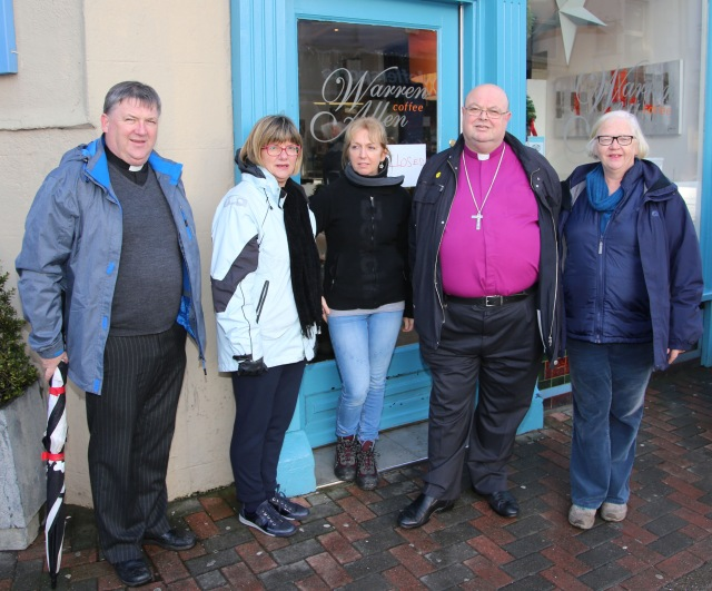 At the premises of Warren Allen COllections in Bandon flooded for the second time in a month were (l-r the Reverend Denis MacCarthy, Susan Colton, Jacinta Warren, Dr Paul Colton, and Maria McLoughlin.