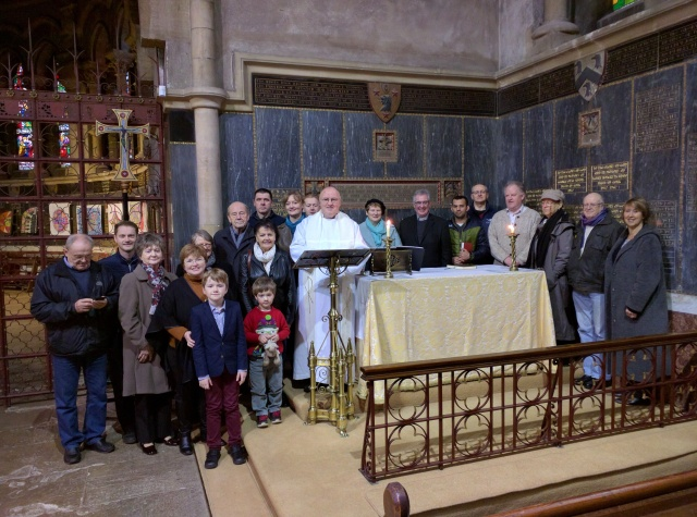 The Reverend Tony Murphy with other clergy and the congregation at the first Irish Language Service of 2016 in St Fin Barre's Cathedral, Cork.