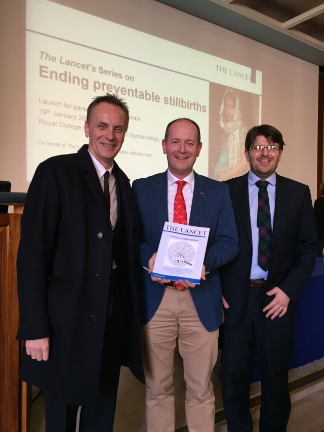 At the launch of The Lancet - Ending Preventable Stillbirths Series - at the Royal College of Obstetricians and Gynaecologists, London today were: (l-r) Dr Richard Horton, Lancet Editor in Chief, Canon Dr Daniel Nuzum (co-author of one of the papers), and Dr Alexander Heazell, Chair, International Stillbirth Alliance and Lead author of 'Stillbirths: Economic and Psychosocial Consequences'.