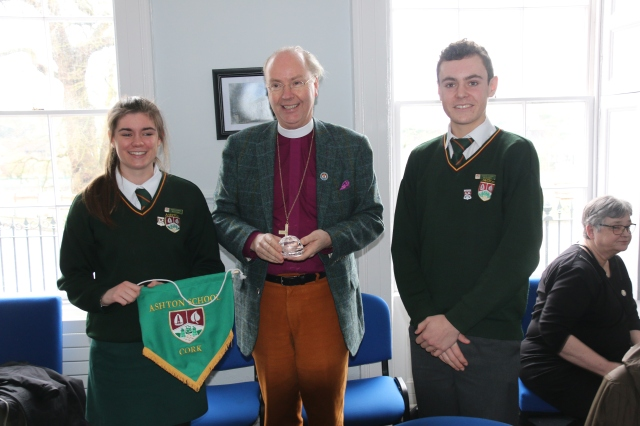 At Ashton School, Cork Ali and Stephen present the Bishop of Strängnäs with gifts.