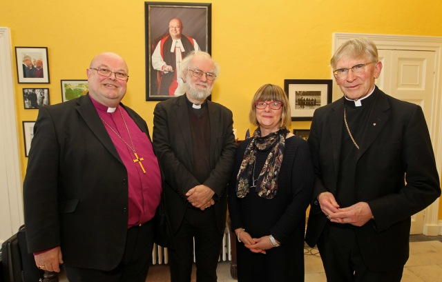 Attending a reception before the Thanksgiving Service (l-r) Bishop Paul Colton, Bishop Rowan Williams, former Archbishop of Canterbury, Mrs Susan Colton and Bishop John Buckley, at  The Palace, Bishop Street, Cork. Picture: Jim Coughlan.