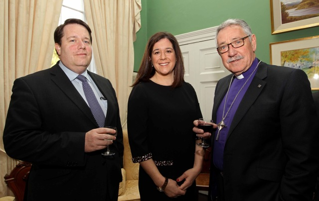 Attending a reception before the Thanksgiving Service (l-r) Robert Baker, Carol Jermyn, DIocesan Solicitor,  and Bishop Trevor Williams (Chairman, Board of CHristian Aid Ireland), at  The Palace, Bishop Street, Cork. Picture: Jim Coughlan.
