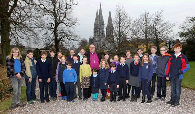 The group of schoolchildren from the schools of the Diocese at the reception after the Civic Service. Photo: Jim Coughlan