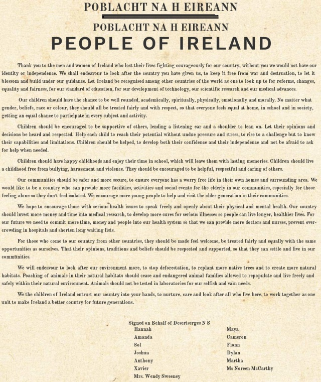 Proclamation for a New Generation ~ written by the pupils and staff of Desertserges National School, Kinneigh Parish, County Cork.