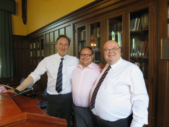 The director and two fellows of the Centre for Law and Religion in the School of Law adn POlitics at Cardiff University pictured in 2015 at a colloquium at Harvard University (l-r) Professor Norman Doe, Professor Mark Hill, QC, and Dr Paul Colton.