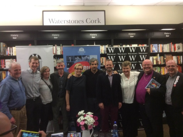 Bishop Paul Colton (second from right) at the launch in Waterstones, Cork of 'A Day in May' with writer Charlie Bird (centre) and those from Cork who contributed their stories to the book, who were interview by Karl Hayden (right)